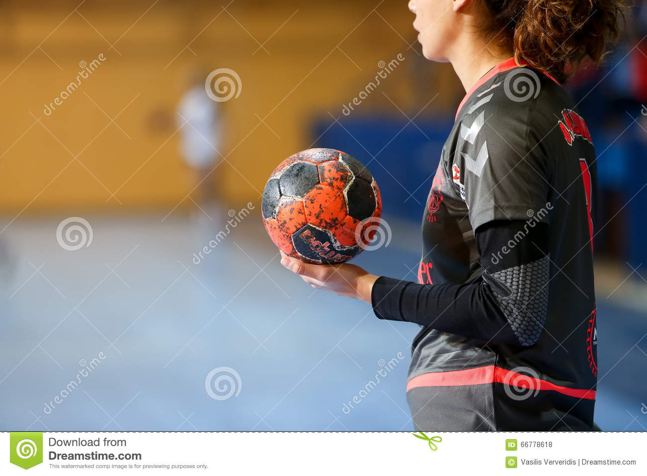 Undefined Hands Holding A Ball Prior To The Greek Women Cup Final ... 078147b00e