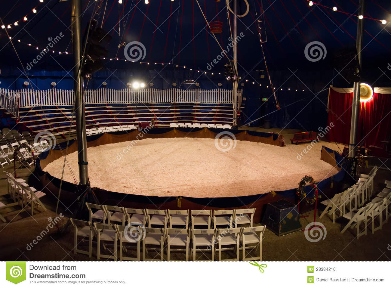 Traveling European family circus entertainment ring under the big top ...