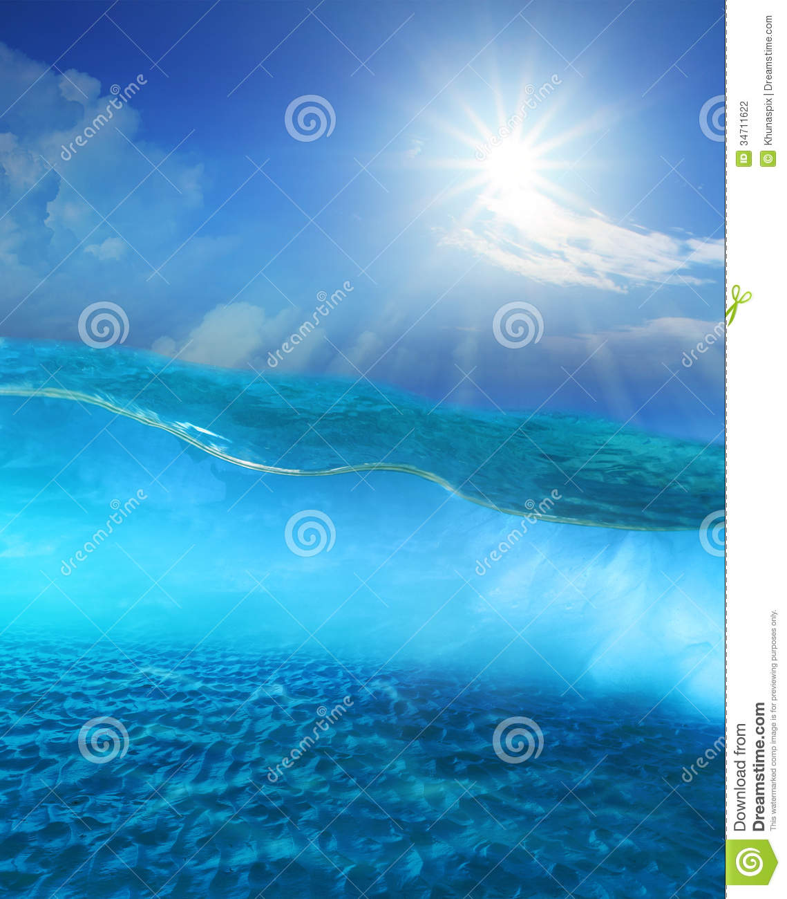 Under clear sea water with sun shining sky and sand dune for Ocean ground
