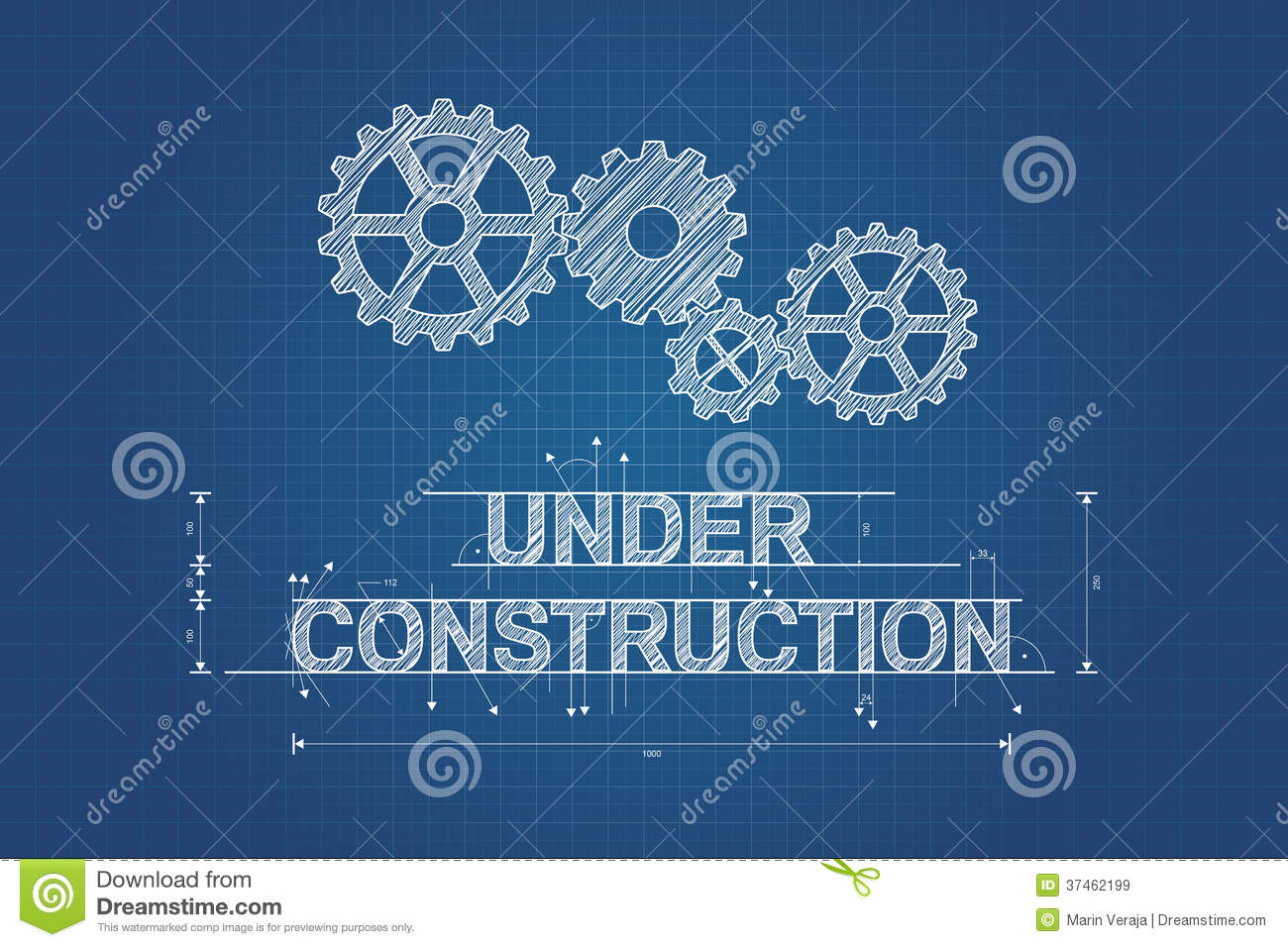 Under Construction Blueprint Technical Drawing Royalty