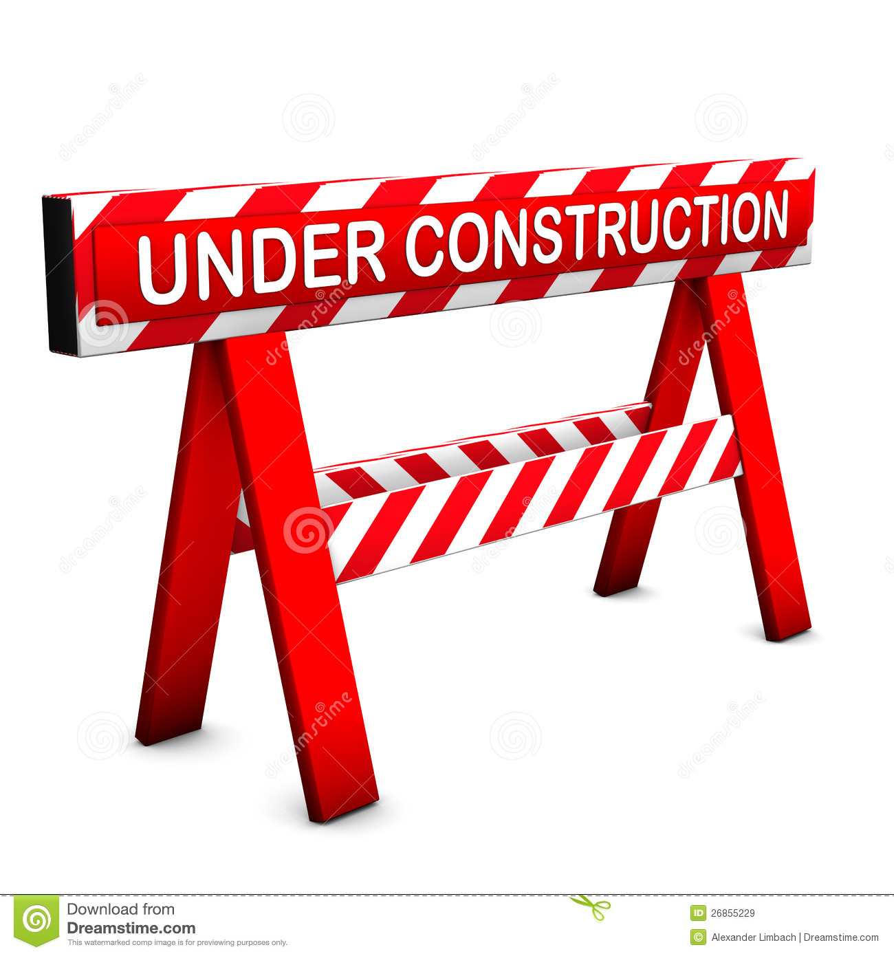 Under construction icon, with red and white colors. White background.