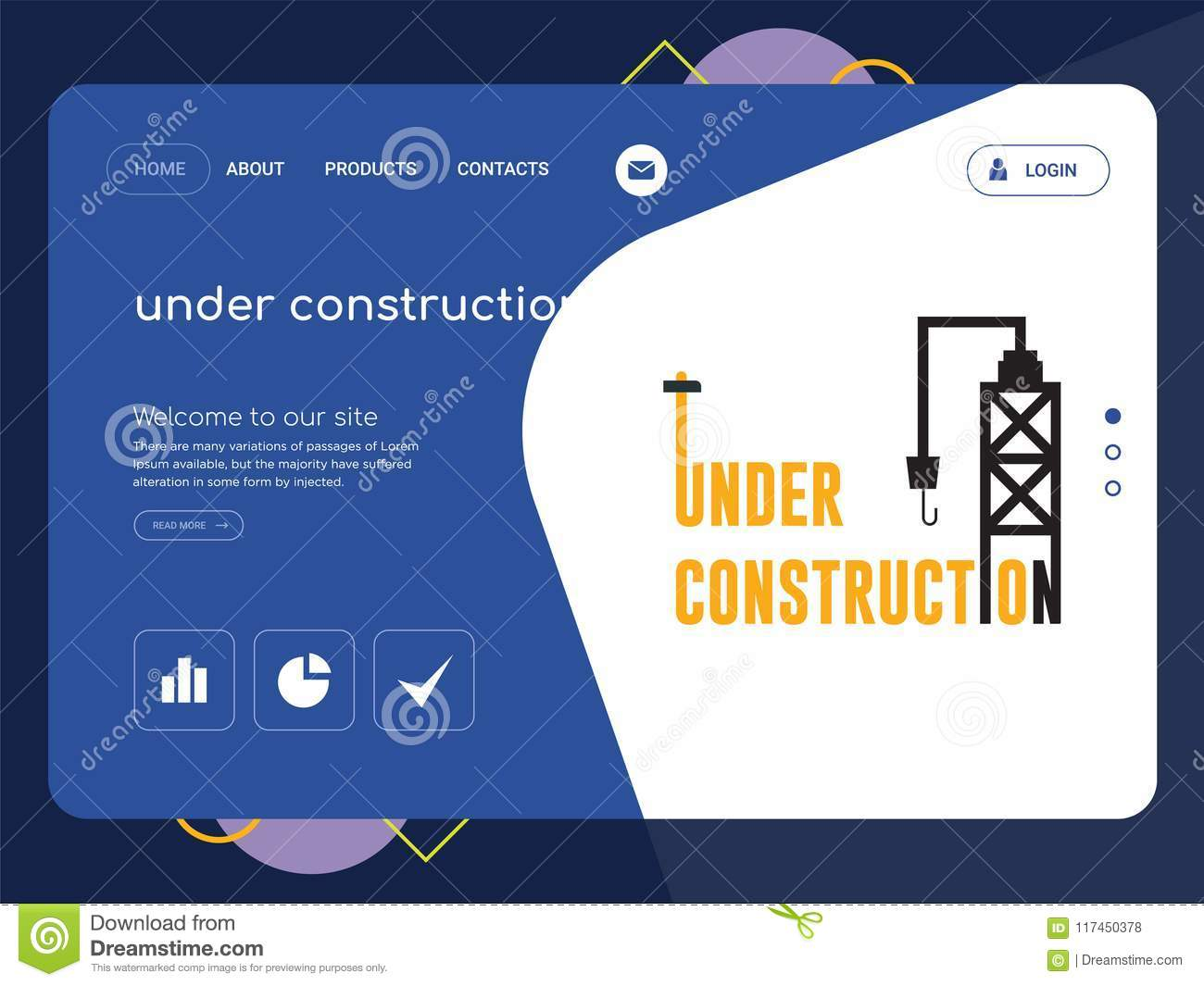 under construction landing page website template design stock
