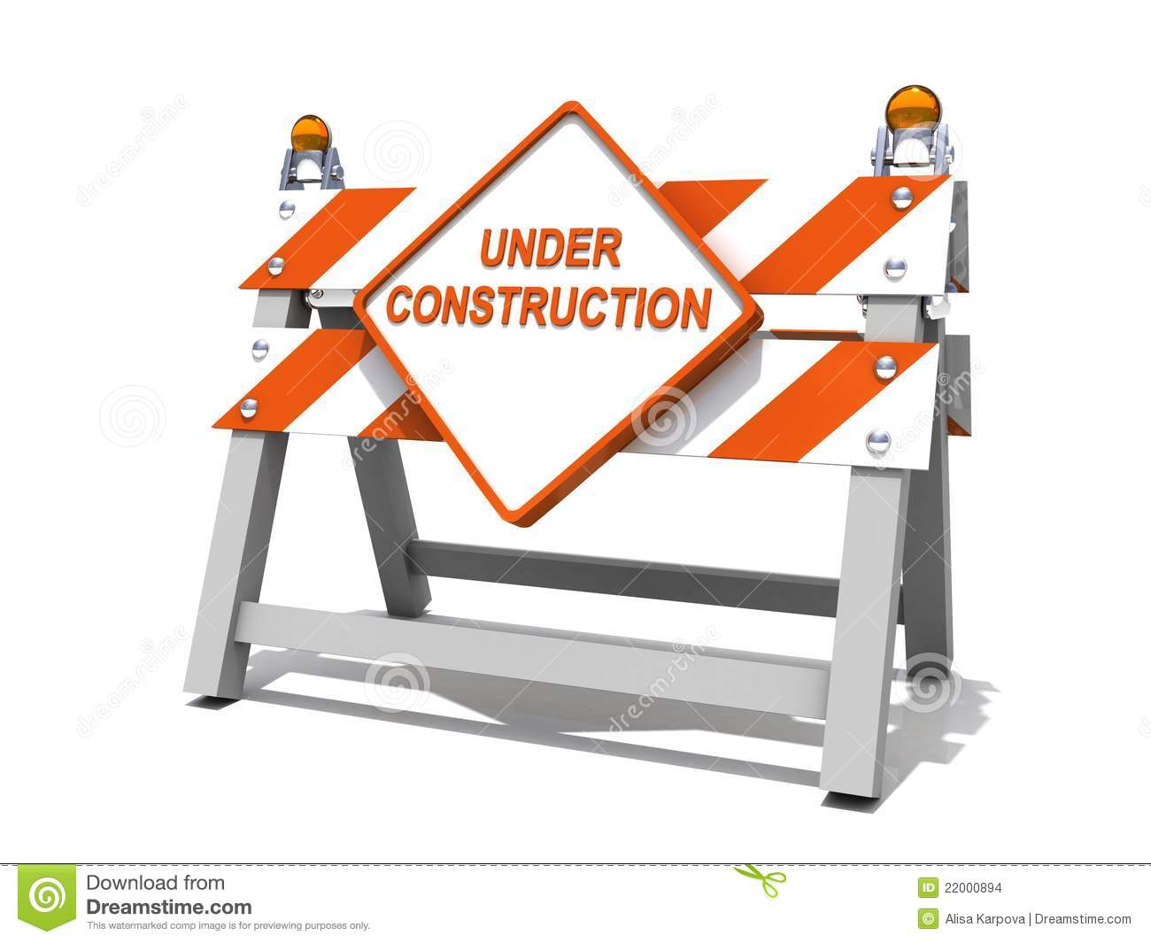 Under Construction Road Sign Barrier Stock Images Image