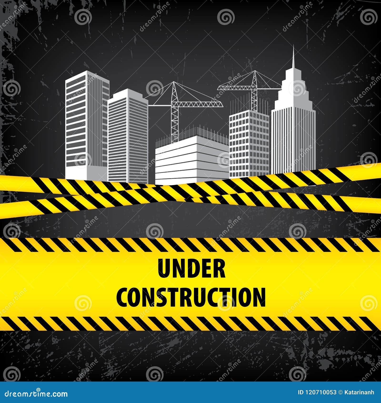 Under Construction Sign On Black Ground Background Vector Illustration For Website Building Under Construction Site Buildings A Stock Vector Illustration Of Reconstruction Construct 120710053