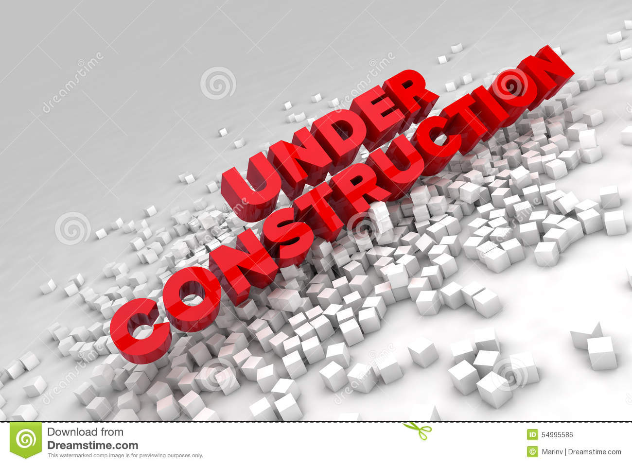 Under construction sign with blocks of cubes