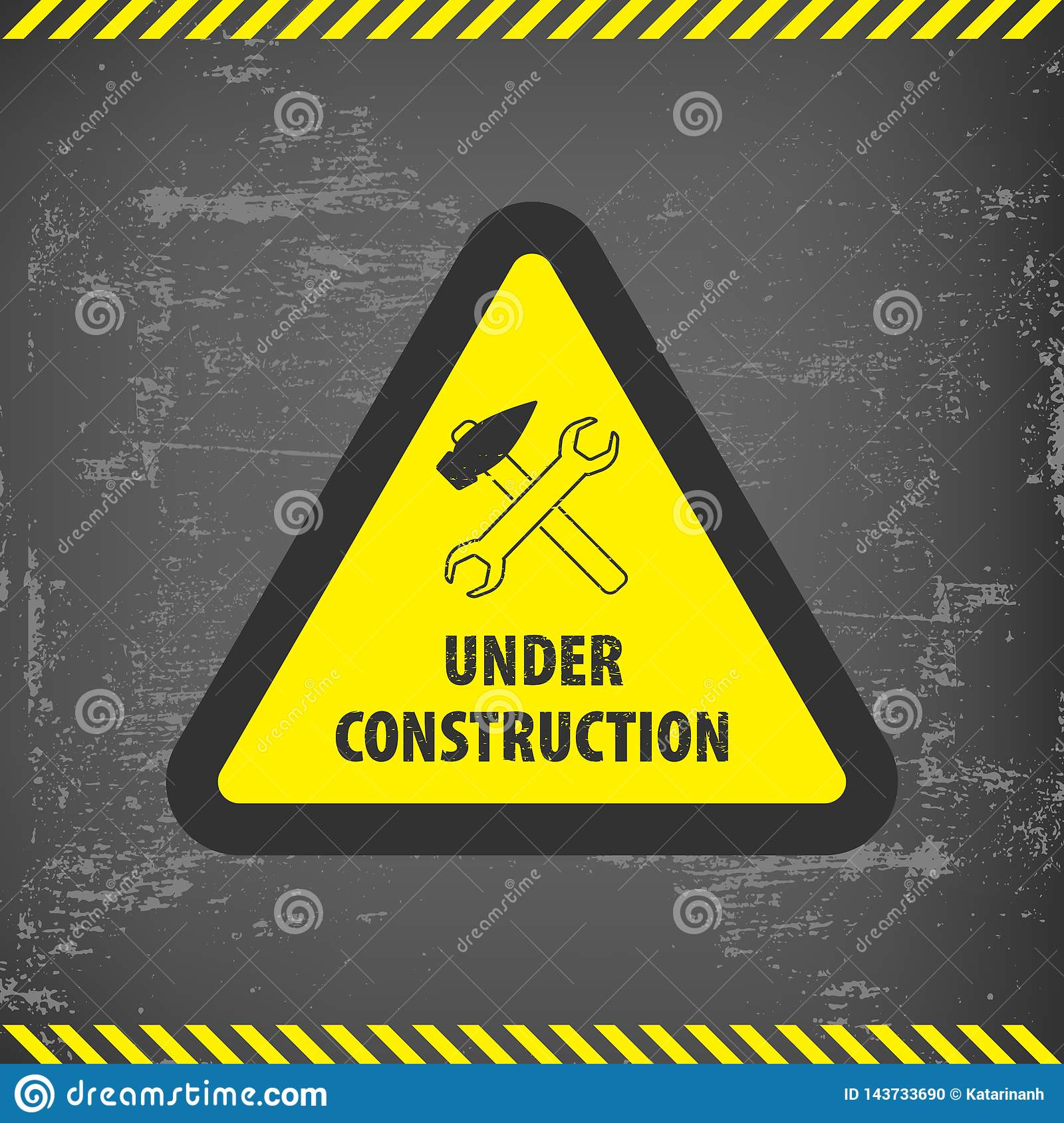 Under construction sign on gray ground background. Vector illustration for website. Under construction triangle with black and yel
