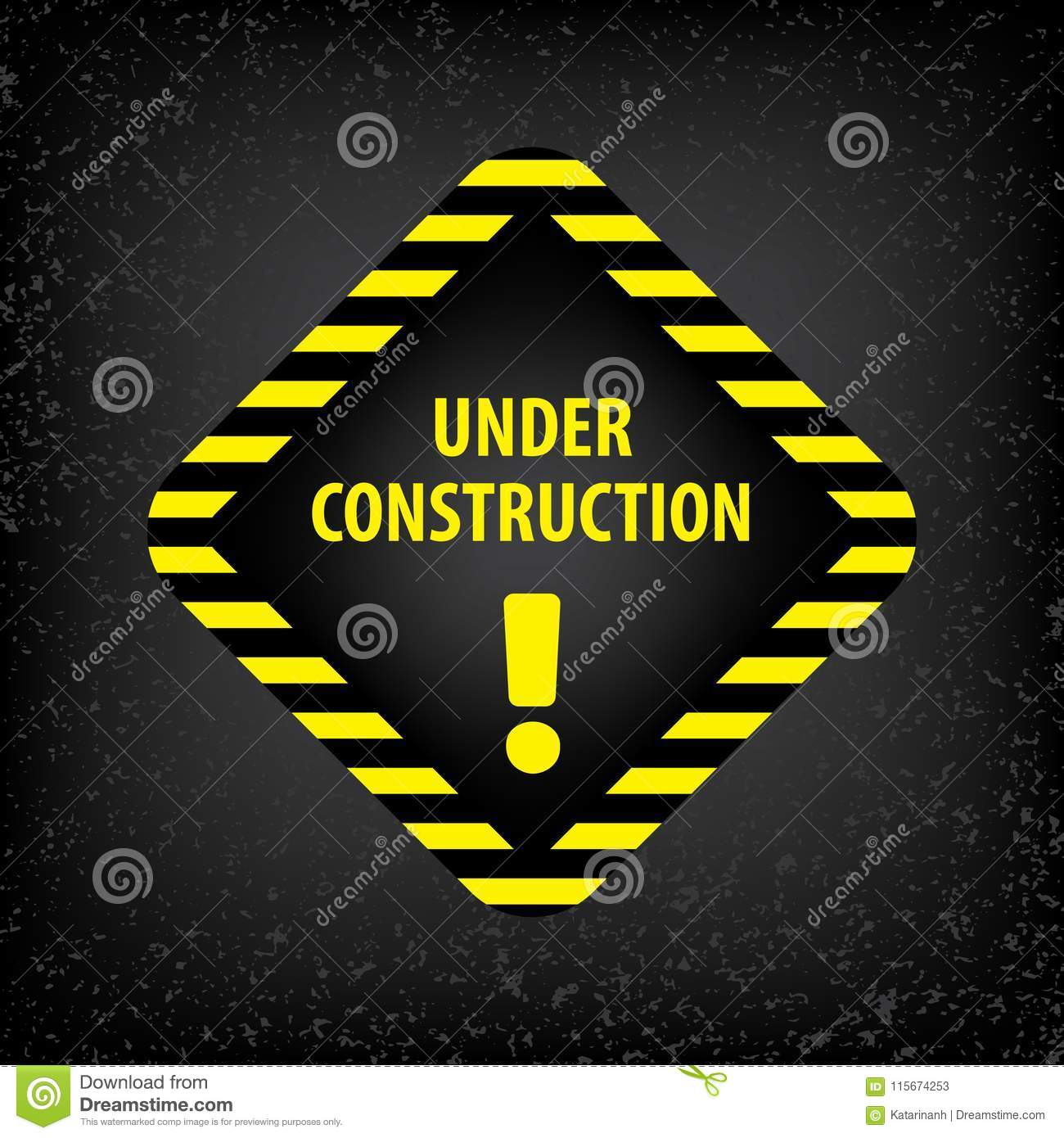 Under construction sign on gray ground texture. Vector illustration for website. Under construction rhombus with black and yellow