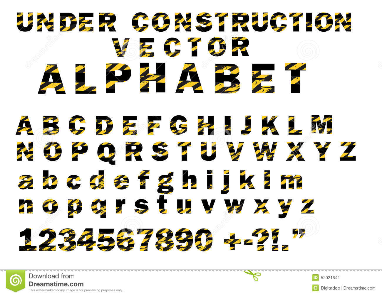 Under Construction Striped Pattern Style Vector Letters Alphabet Font ... Under Construction Signs