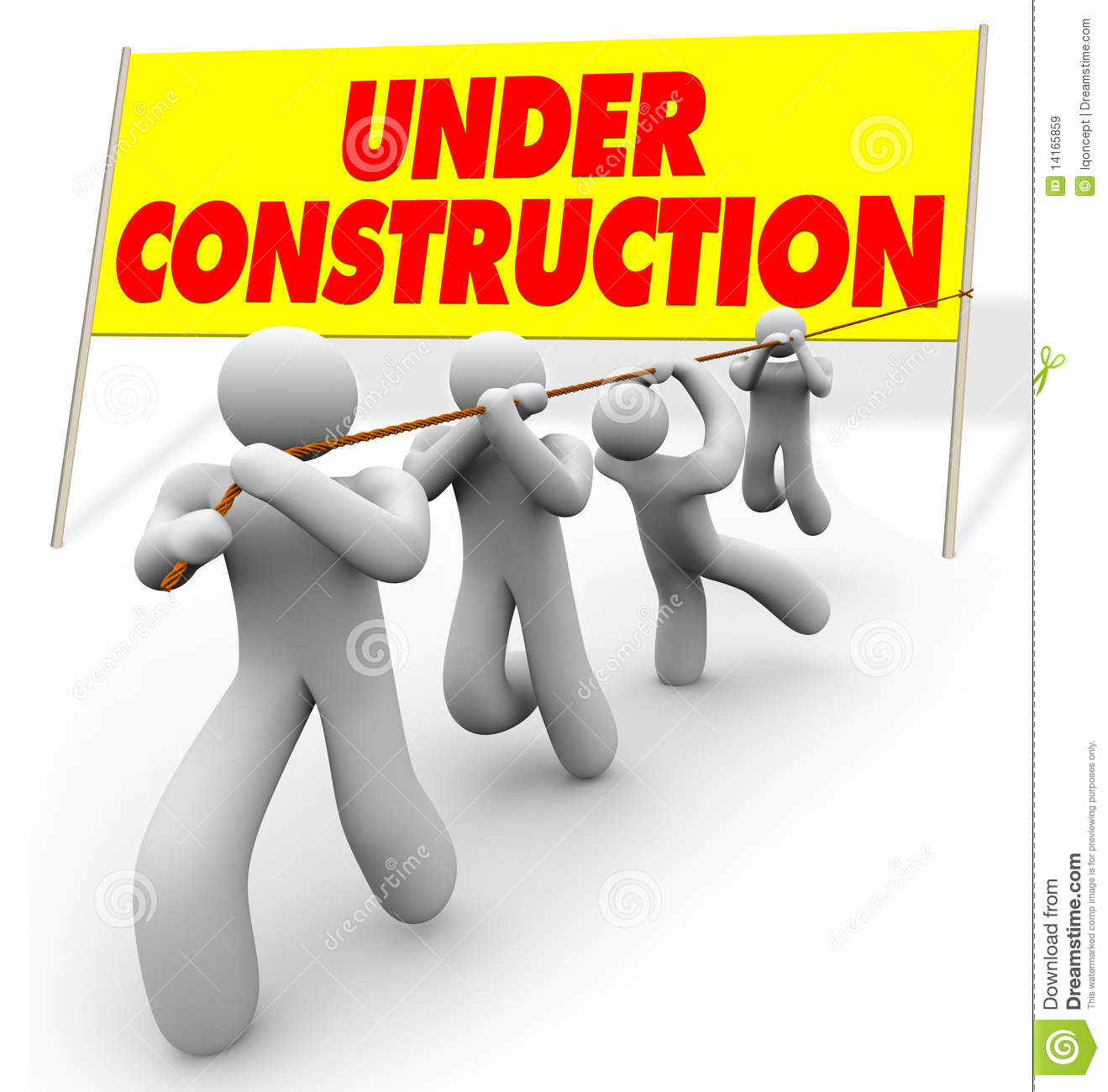 Under Construction Team Pulling Up Sign Royalty Free