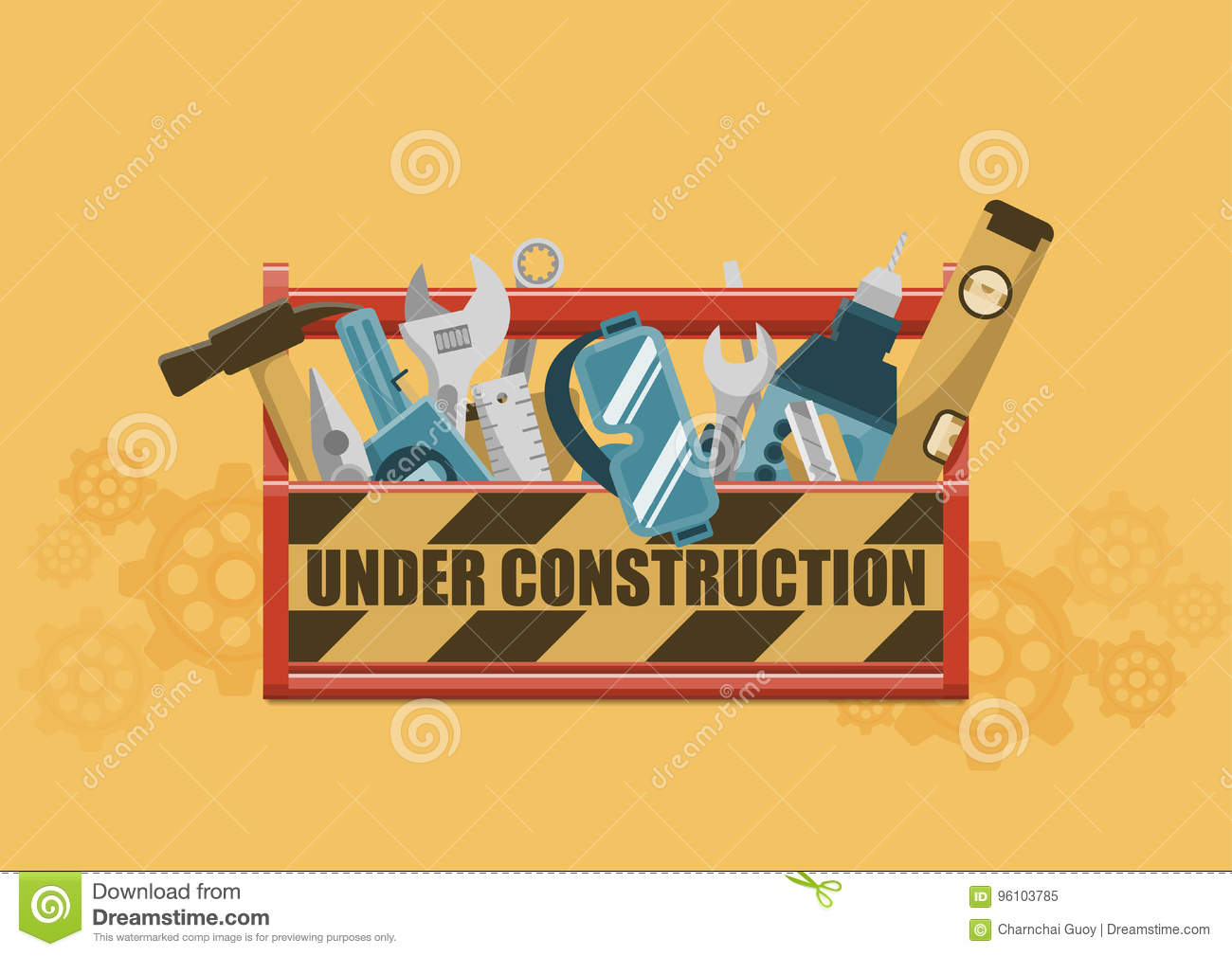 under construction toolbox stock vector image 96103785