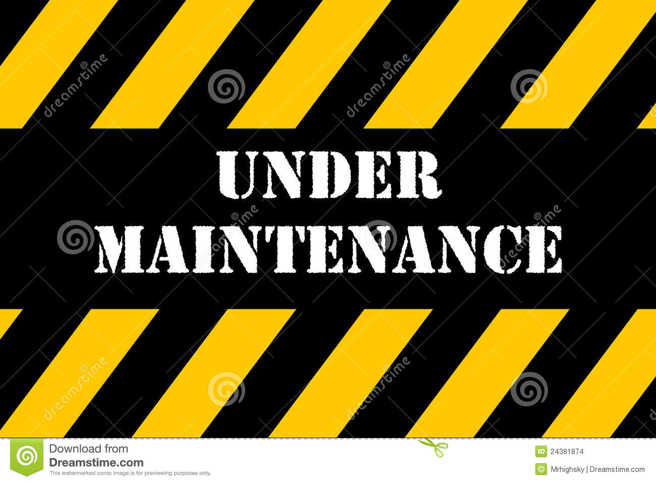 3d under maintenance sign board and construction cones stock