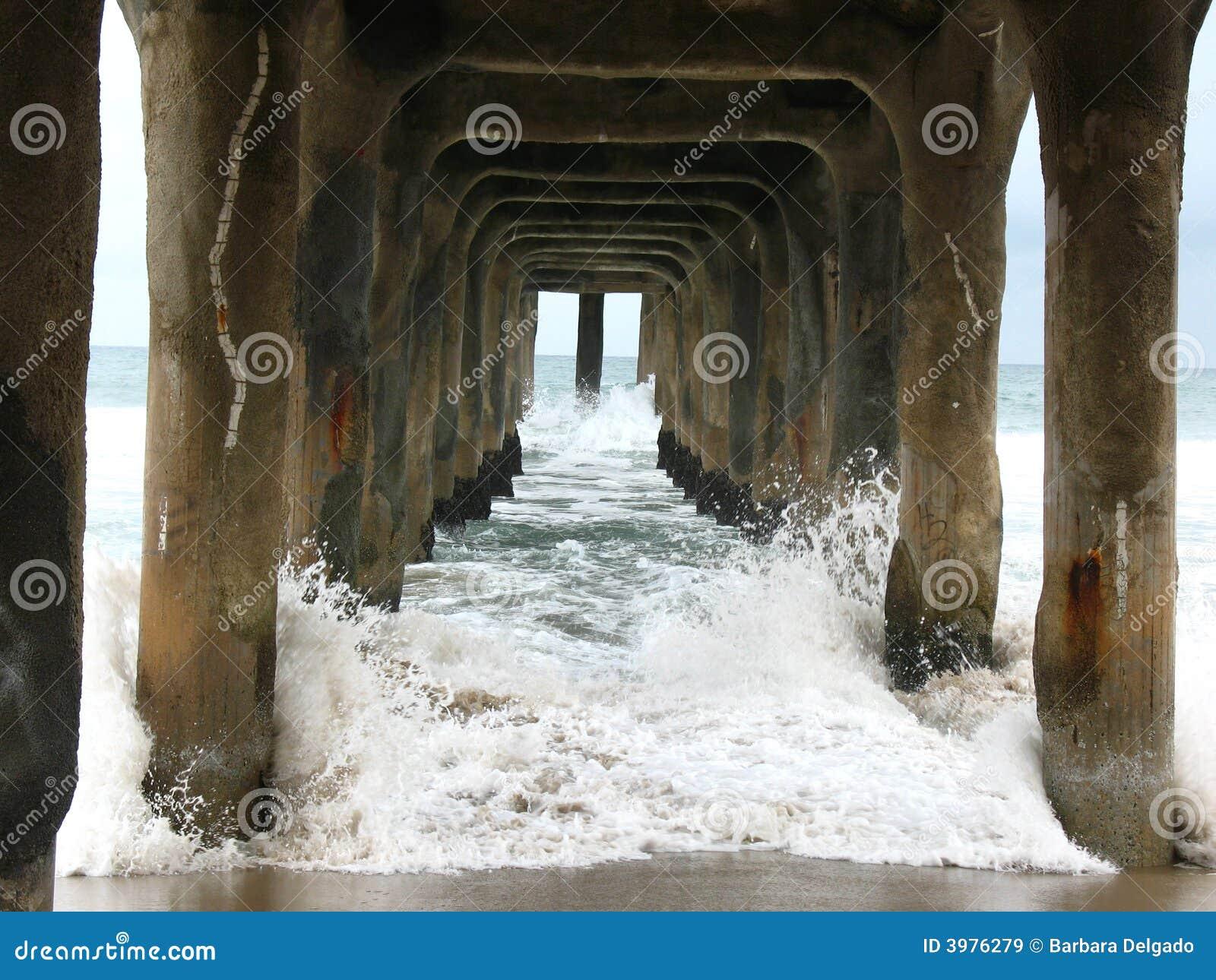 Under Manhattan Beach Pier 2 Stock Image Image Of Photo Surf 3976279