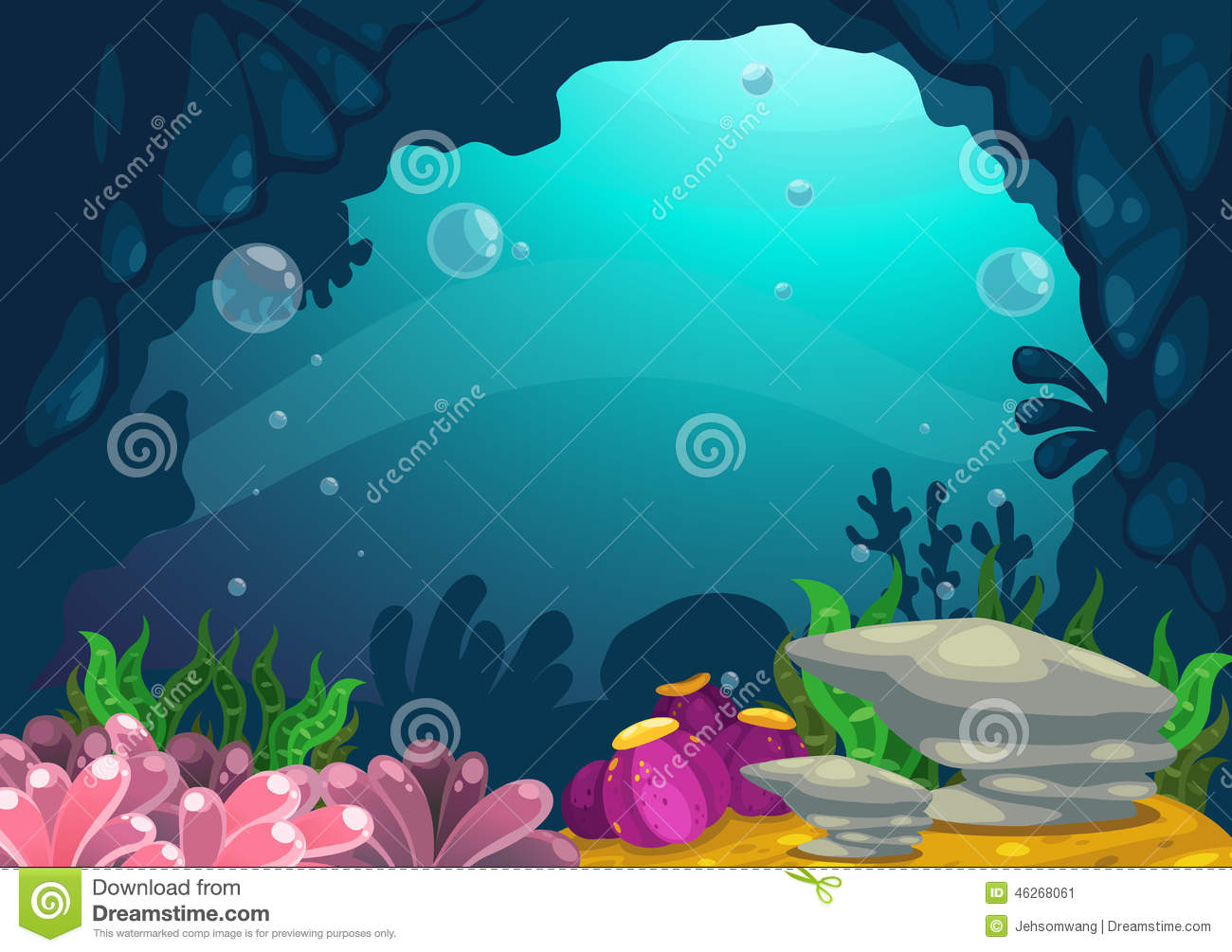 Stock Illustration Under Sea Background Illustration Image46268061