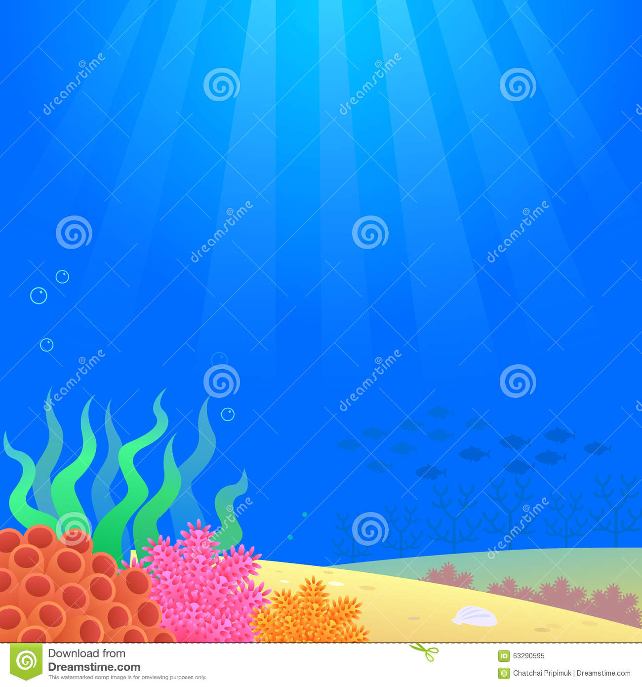 Stock Illustration Under Sea Background Illustration Painting Cartoon ...
