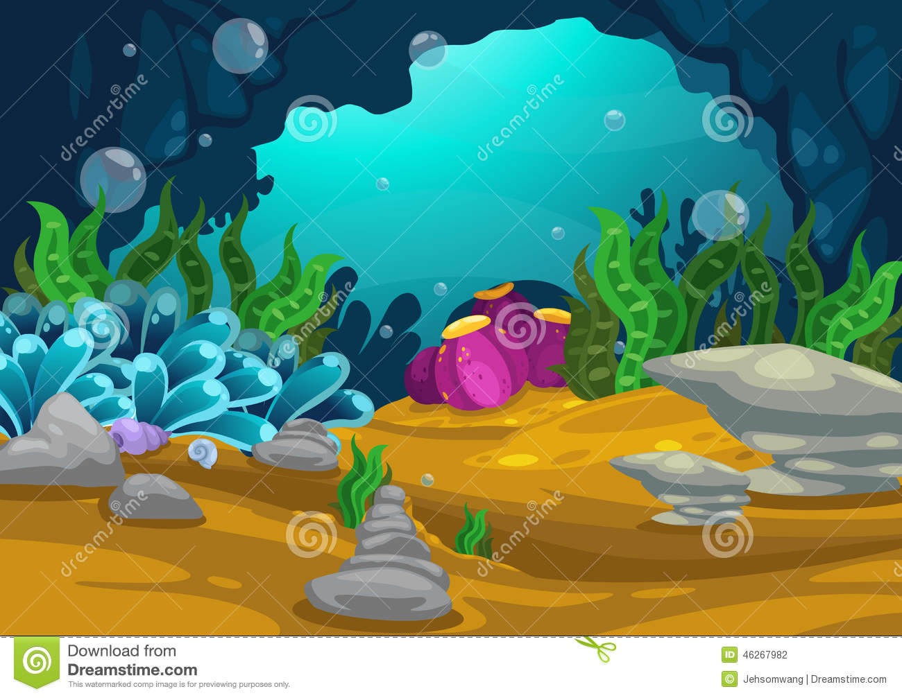 Stock Illustration Under Sea Background Illustration Vector Image46267...