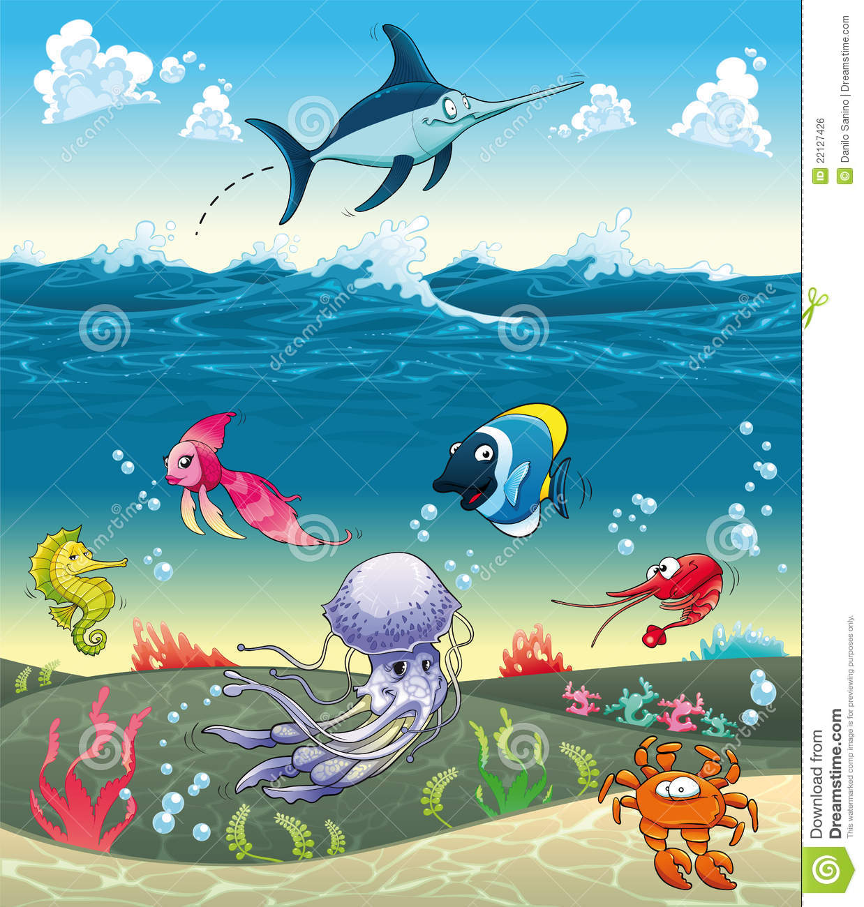 Under the sea with fish and other animals stock vector for Fish under the sea
