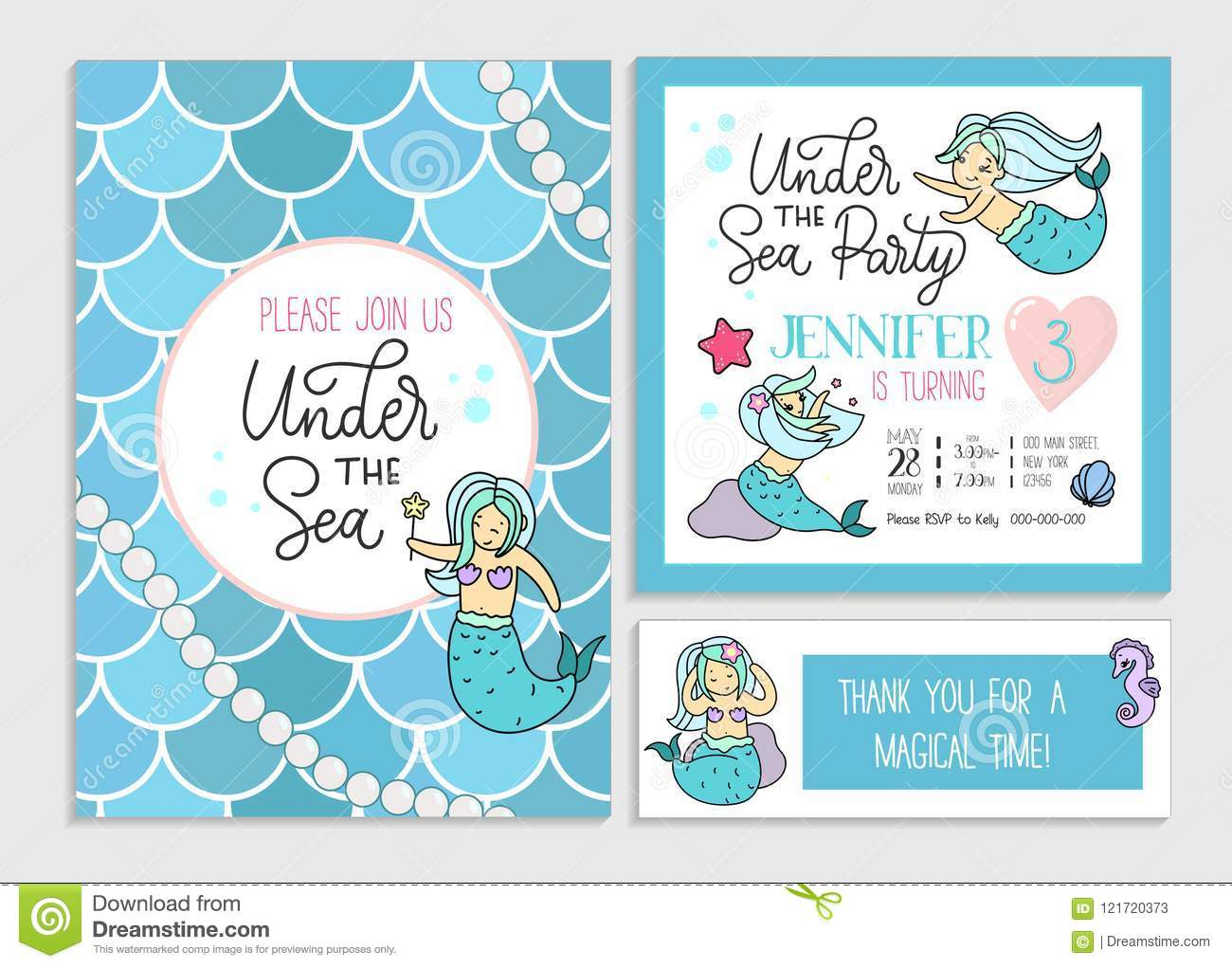 under the sea party invitation for little girl mermaid set of g