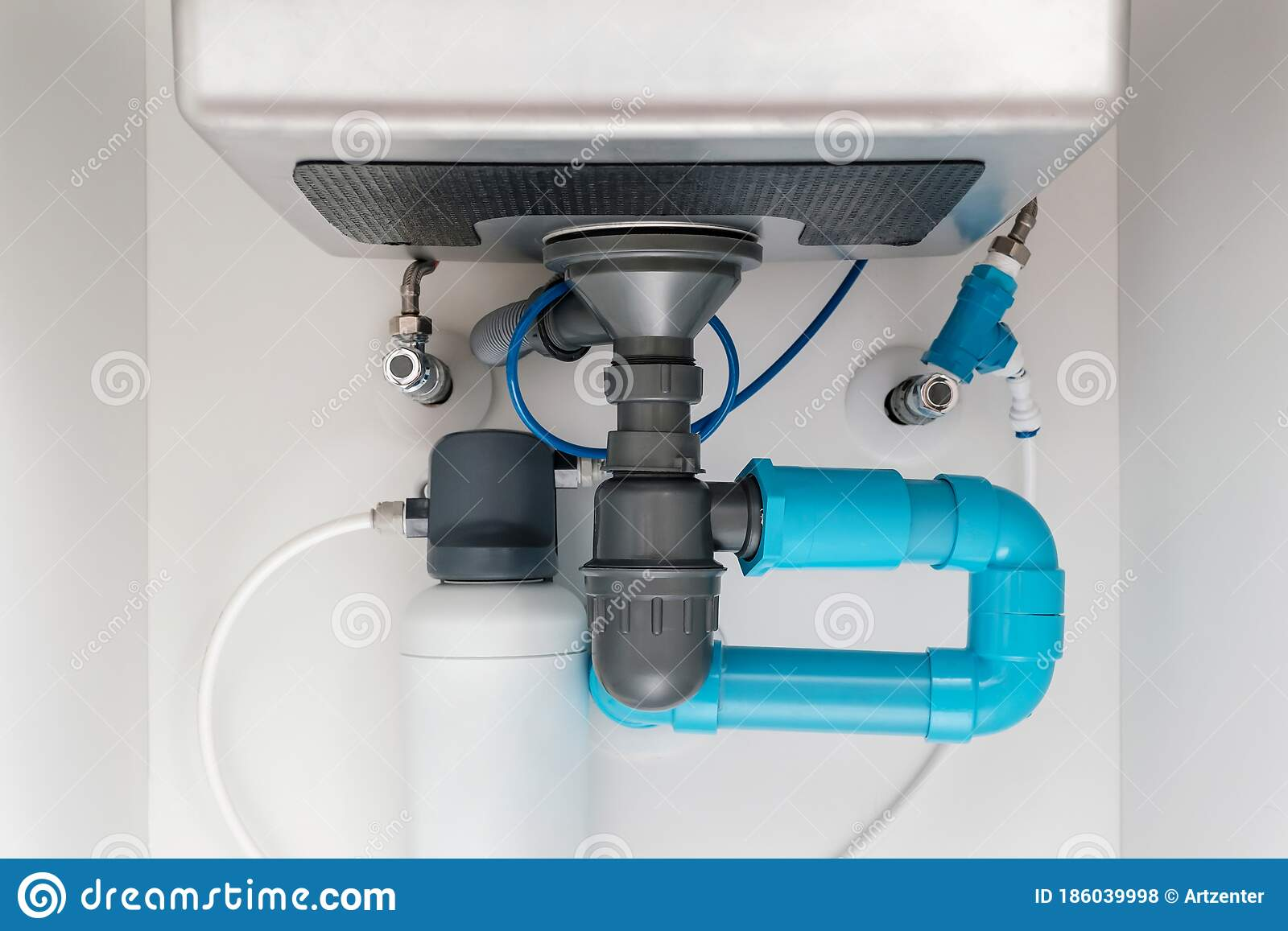 Under Sink Plumbing And Drainage System Water Purification System Install Under Modern Kitchen Sink Stock Photo Image Of Apartment Component 186039998