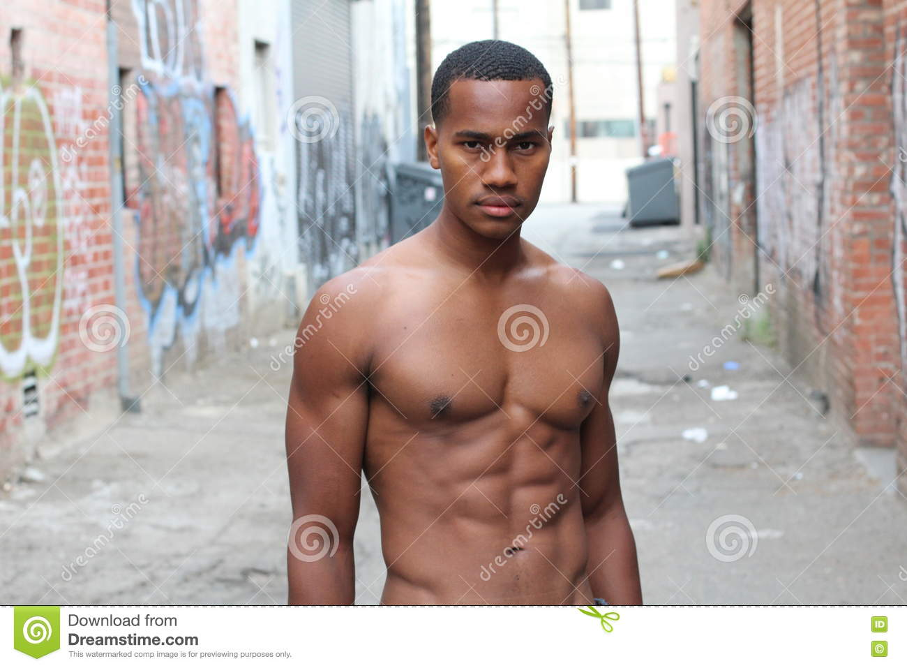 black man half naked