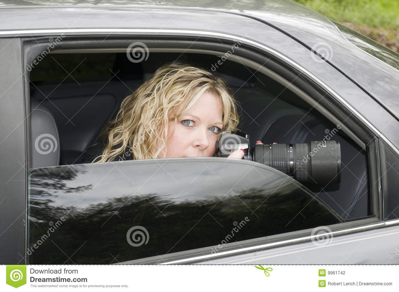 Undercover Woman Spying Camera Stock Photo Image 9961742