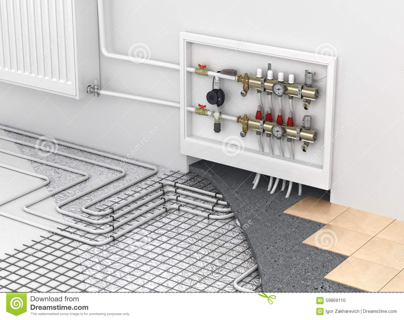 Underfloor Heating With Collector And Radiator In The Room