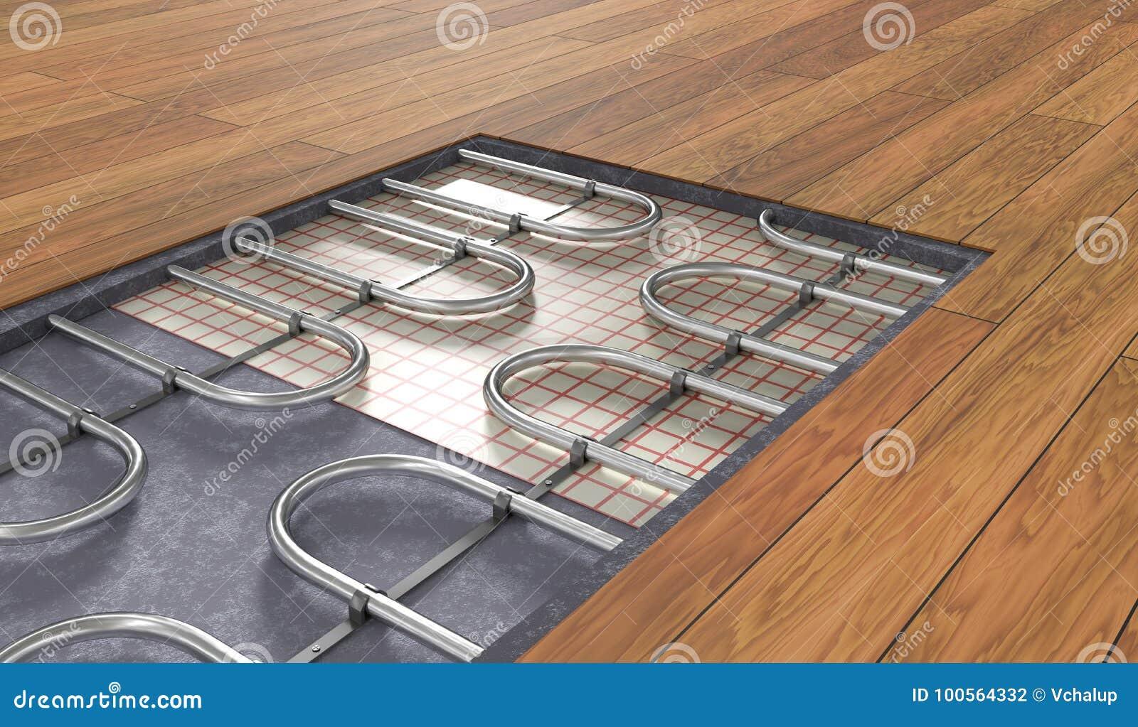 Underfloor Heating System Under Wooden Floor. 9D Rendered ...