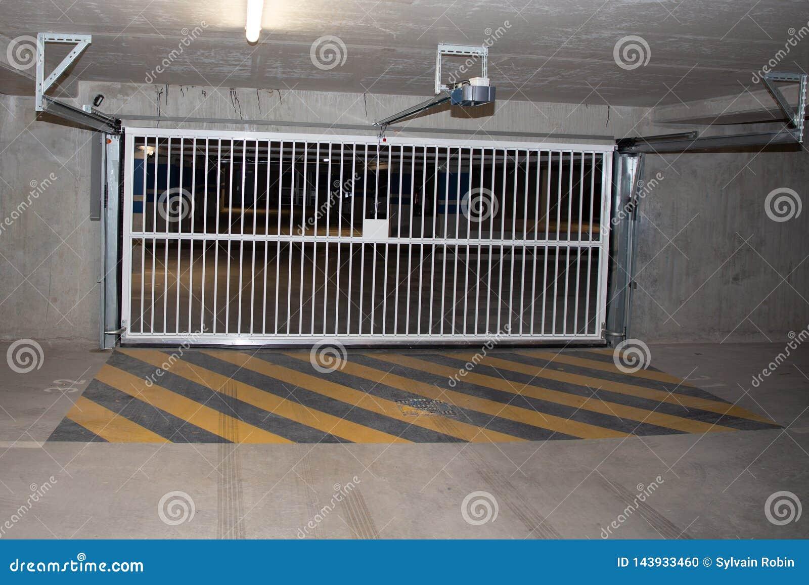 Underground Cement Car Park Garage Parking Entry Door Gate Empty