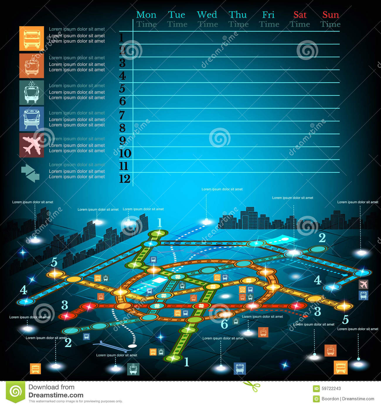 Underground infographic with lines of metro on city map.