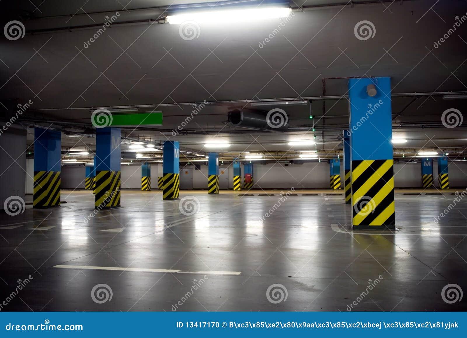 Underground Parking Garage Interior Stock Photo - Image of ...