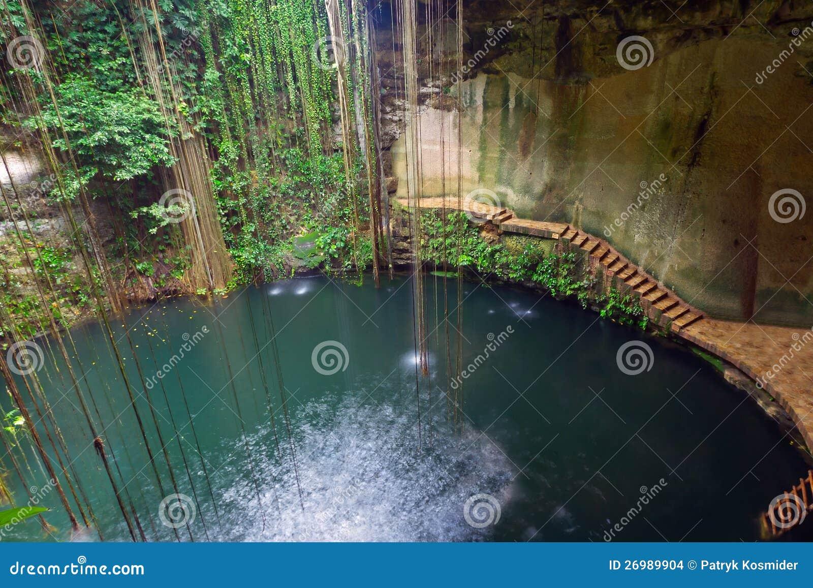 Underground Pool Ik Kil Cenote In Mexico Stock Photo