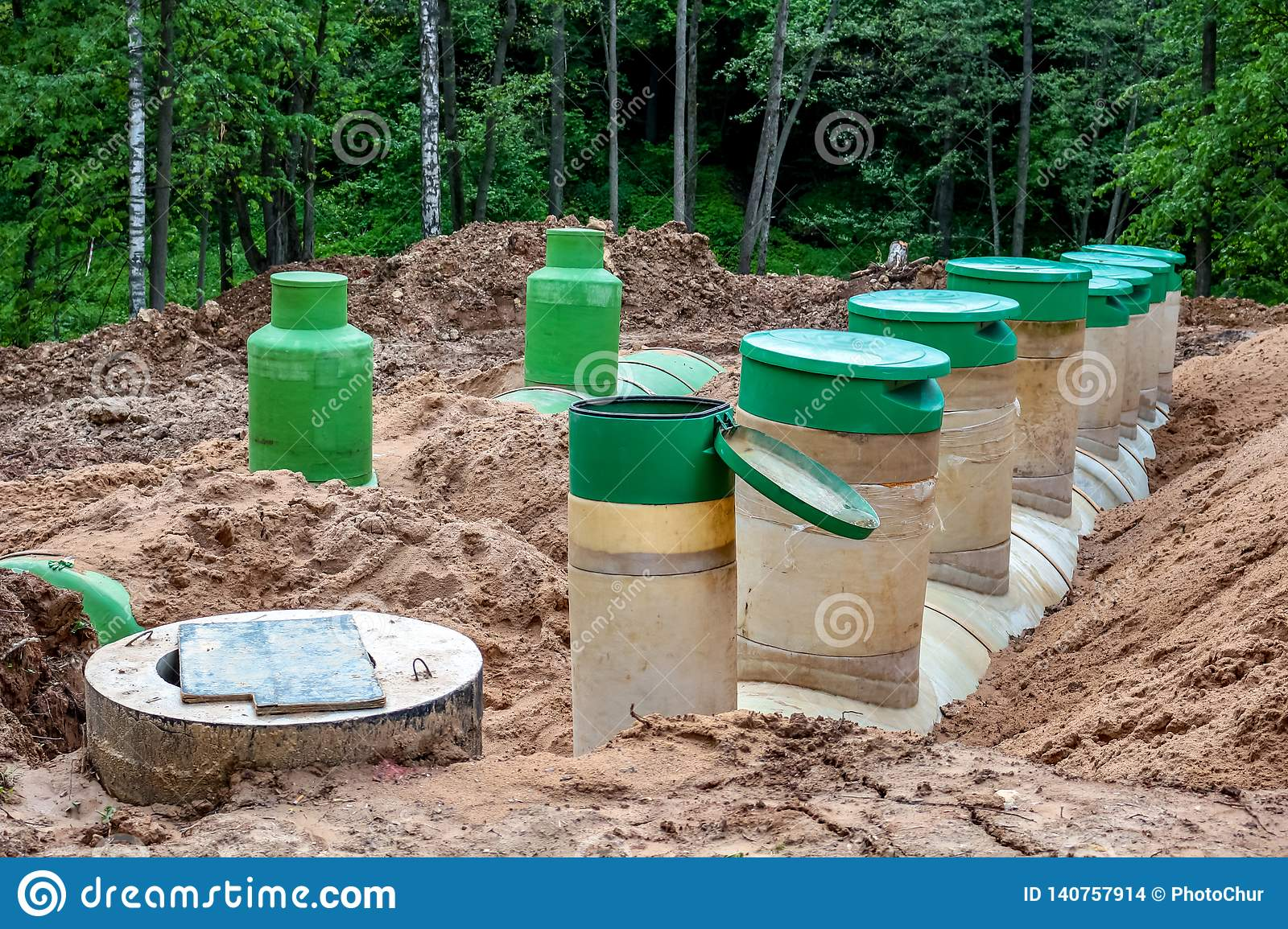 Underground Tanks At The Construction Site Stock Photo