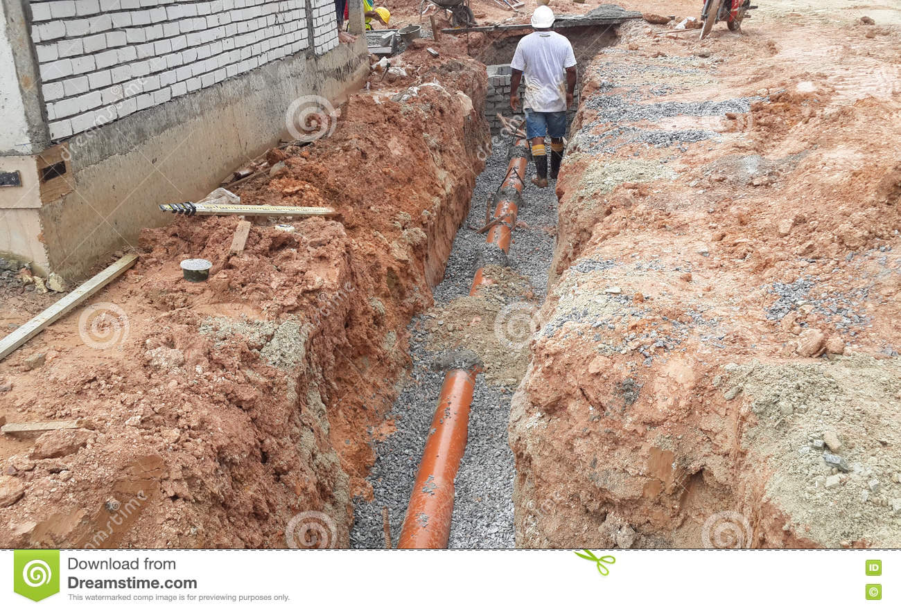 Underground utilities trenches editorial image of