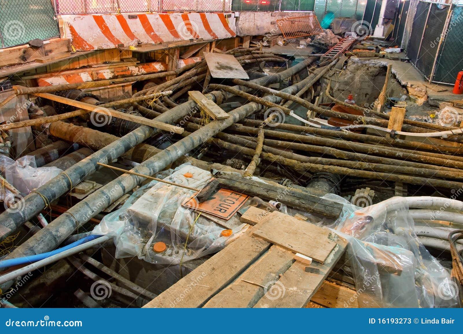 Underground utility repairs stock image of urban