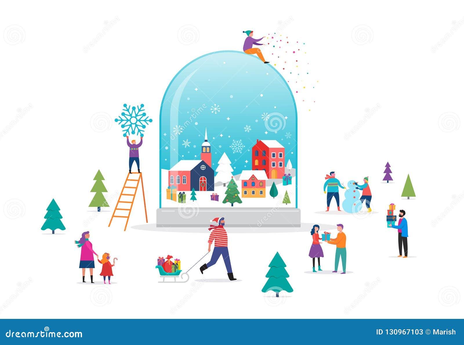Underlandplats för glad jul, vinteri ett snöjordklot med litet folk, unga män och kvinnor, familjer som har gyckel in