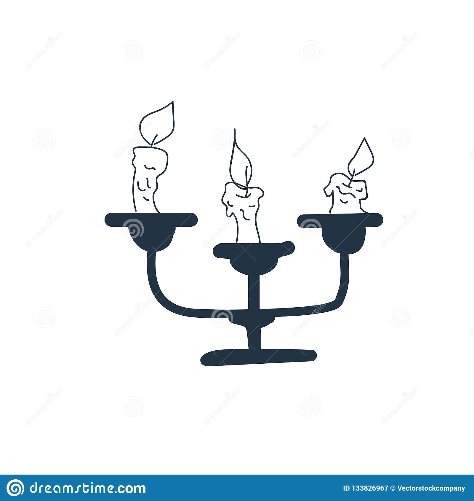 Undersöka symbolsvektorn som isoleras på vit bakgrund, stearinljustecken