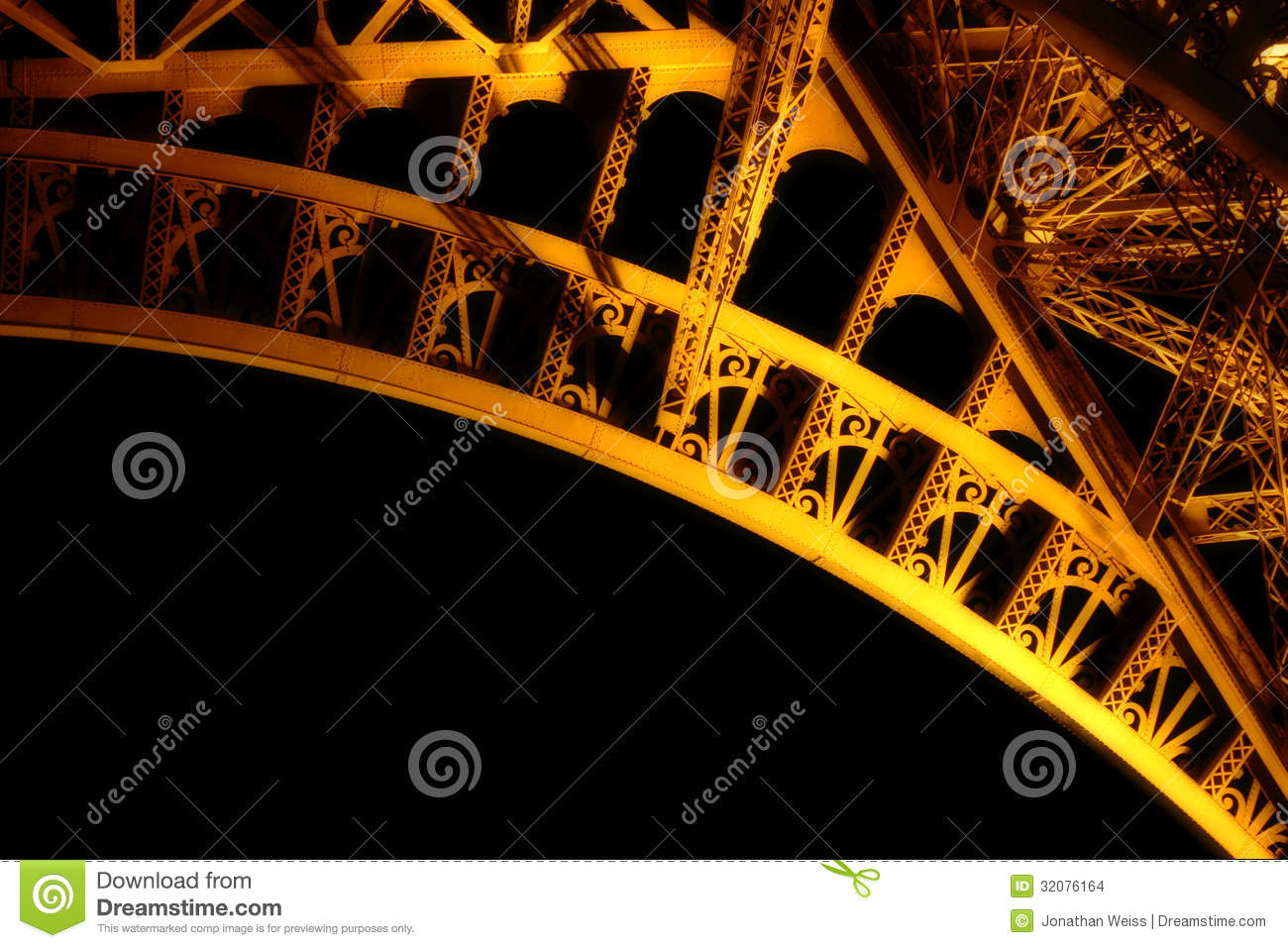 Underside of the Eiffel Tower at Night