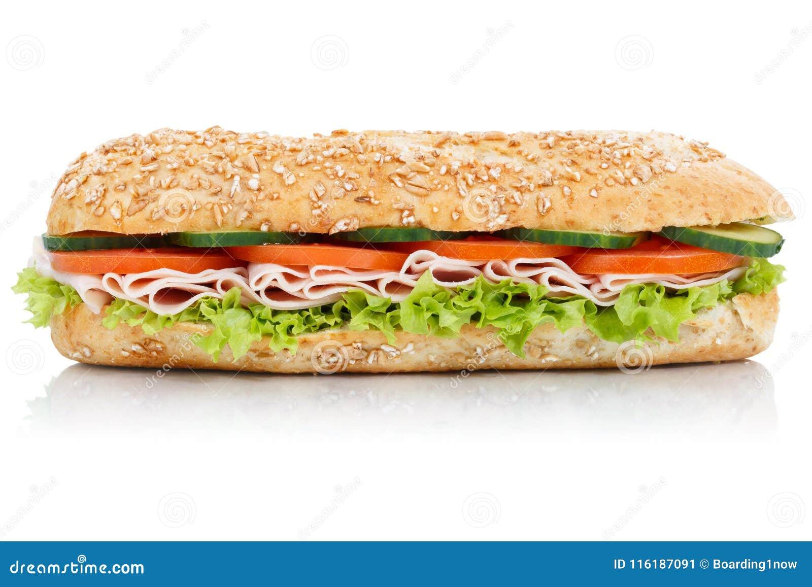 Undersmörgås med för kornkorn för skinka hel isolat för lateral för bagett