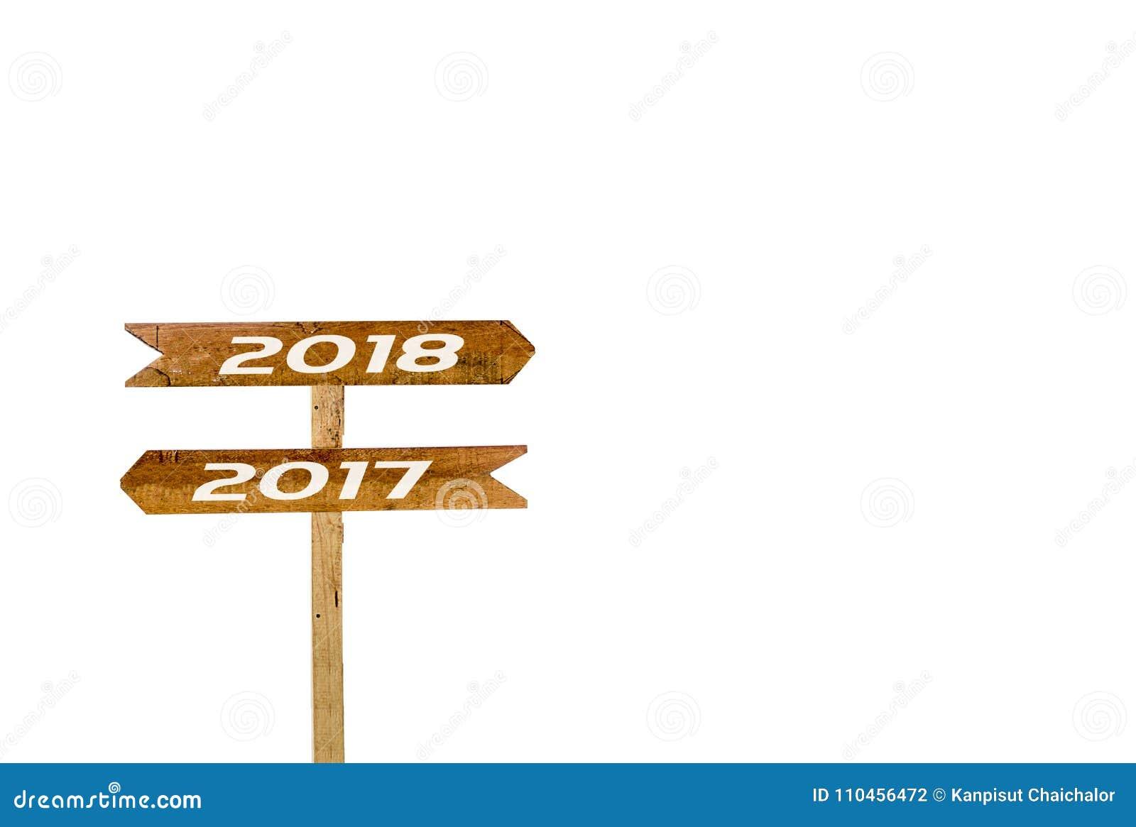 Underteckna banret 2017, 2018 isolerad vit bakgrund