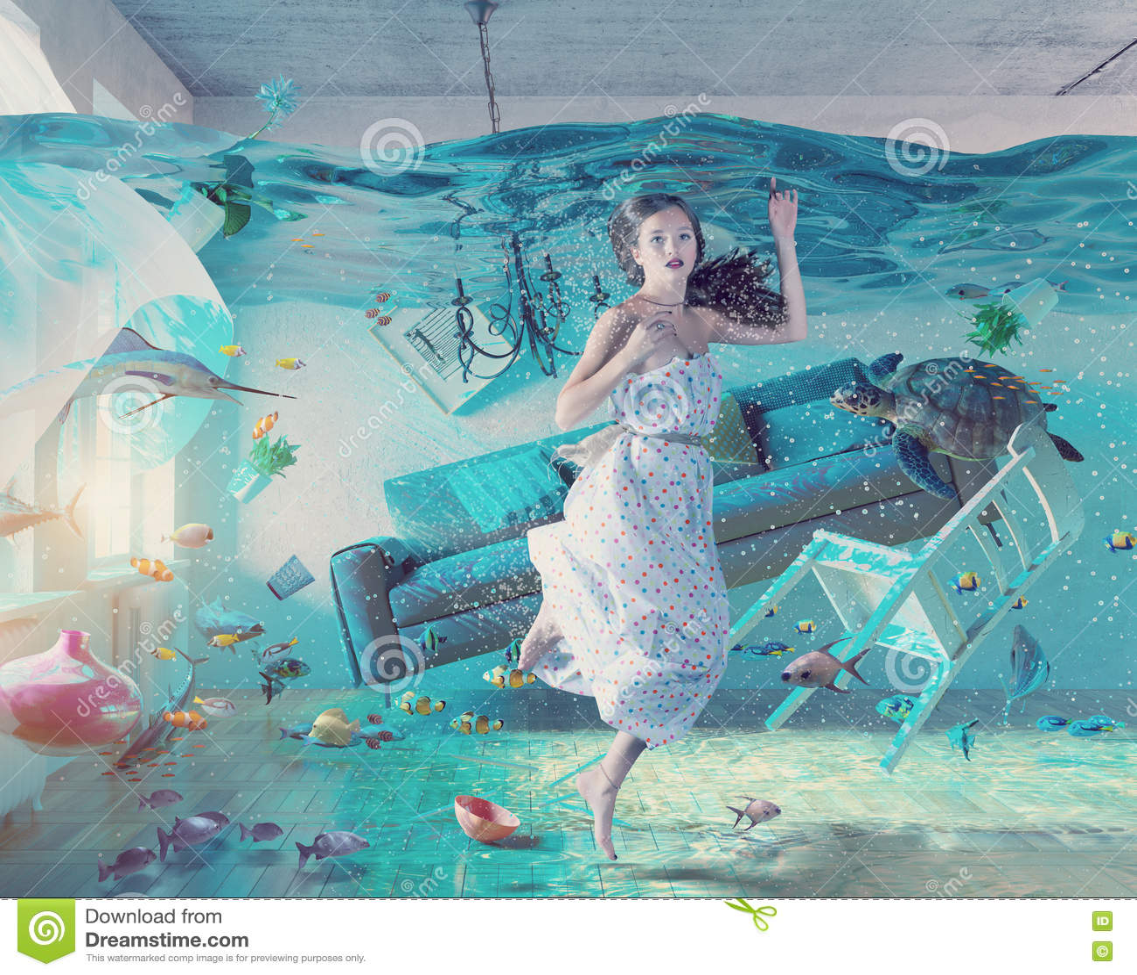 Undervattens- översvämningsinre