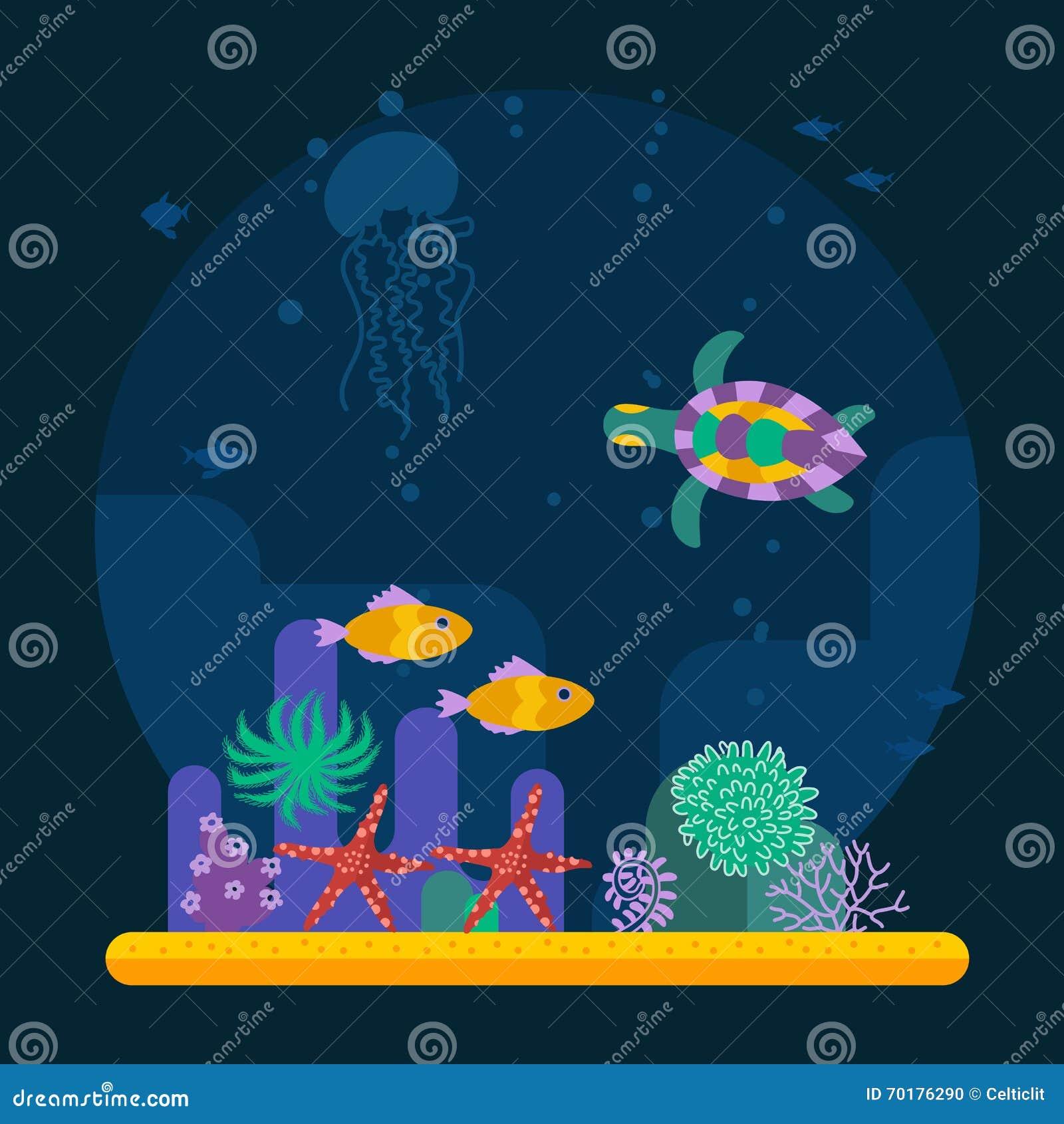 Undervattens- bakgrund med den tropiska fisken och den olika växten