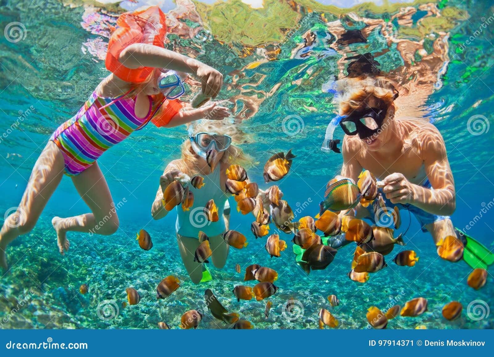 Undervattens- foto Lycklig familj som snorklar i det tropiska havet