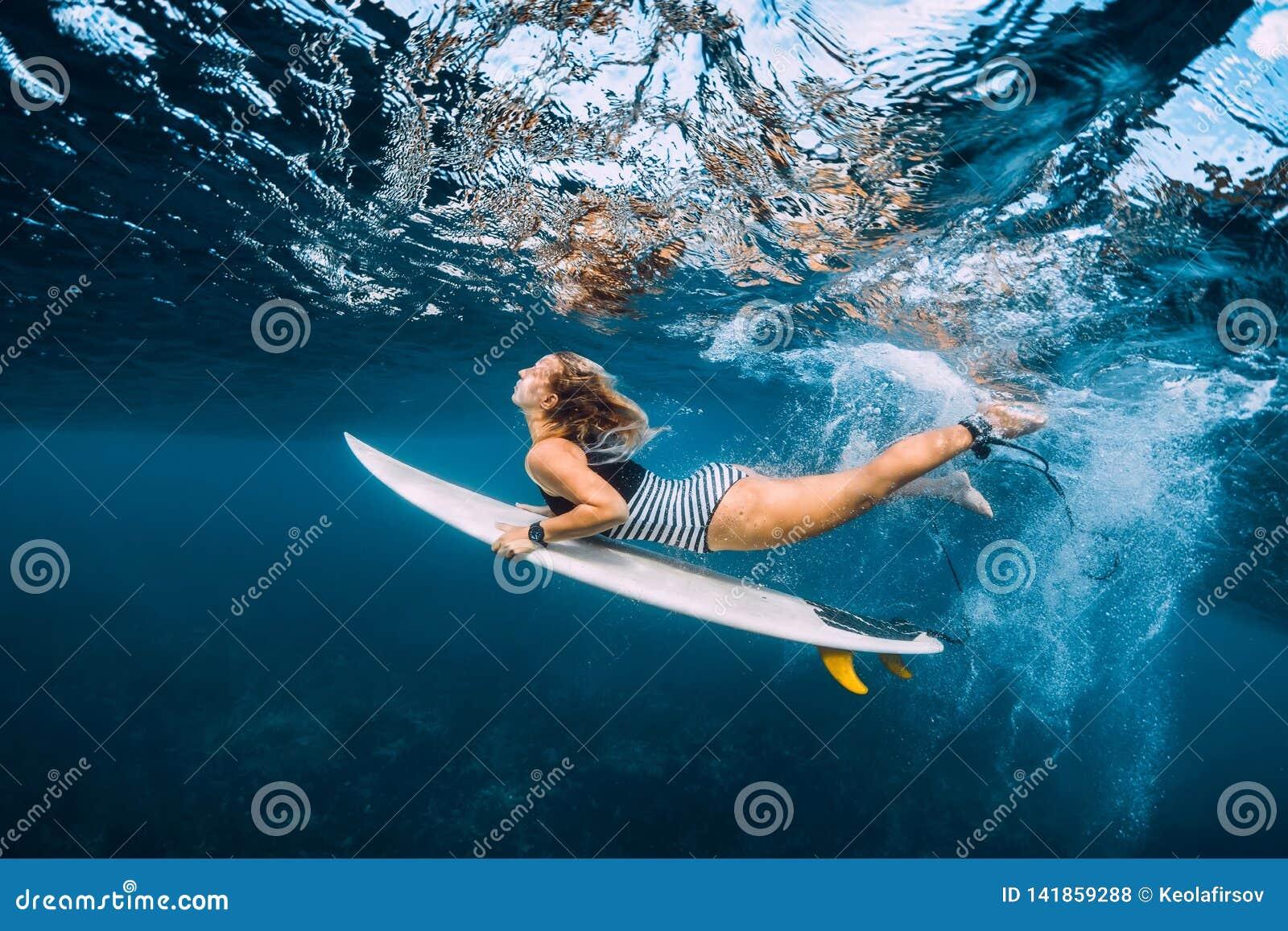 Undervattens- surfarekvinnadyk Surfgirl dyk under våg