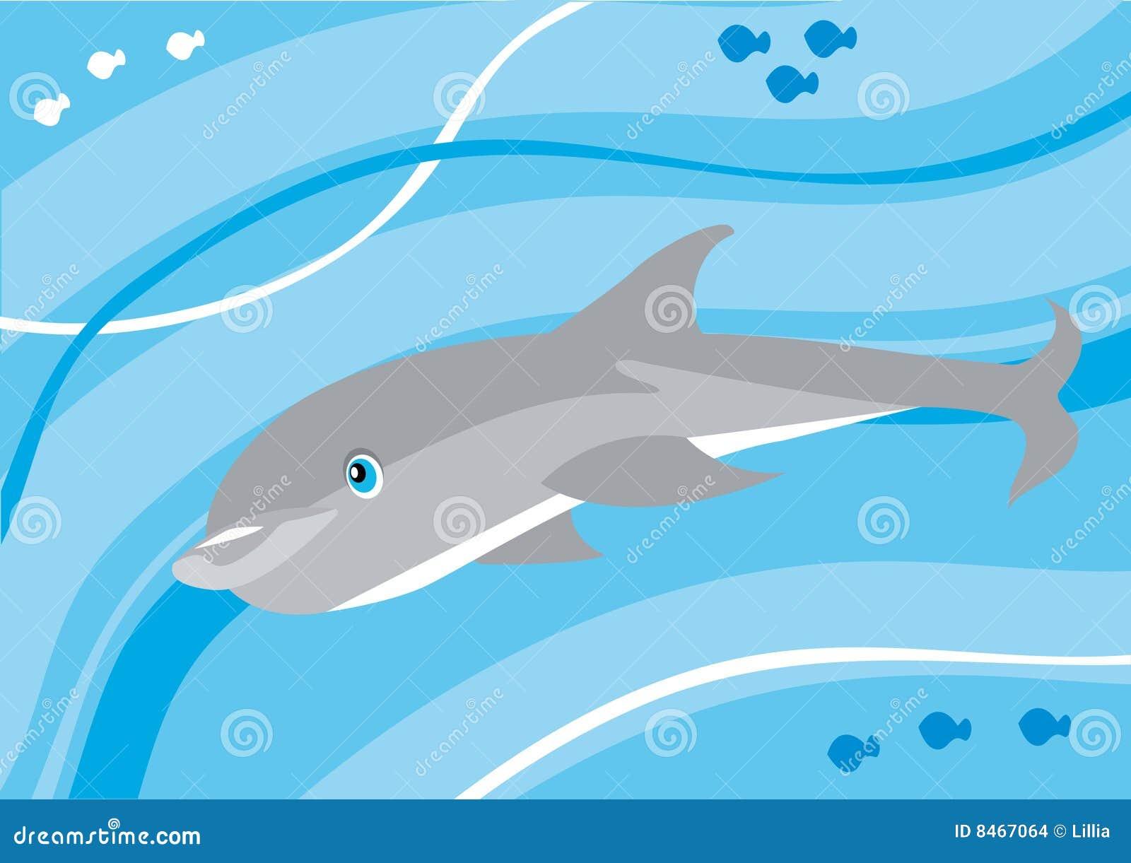 Undervattens- tecknad filmdelfin