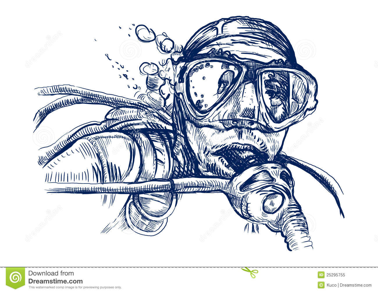 It's just a photo of Satisfactory Scuba Diver Drawing