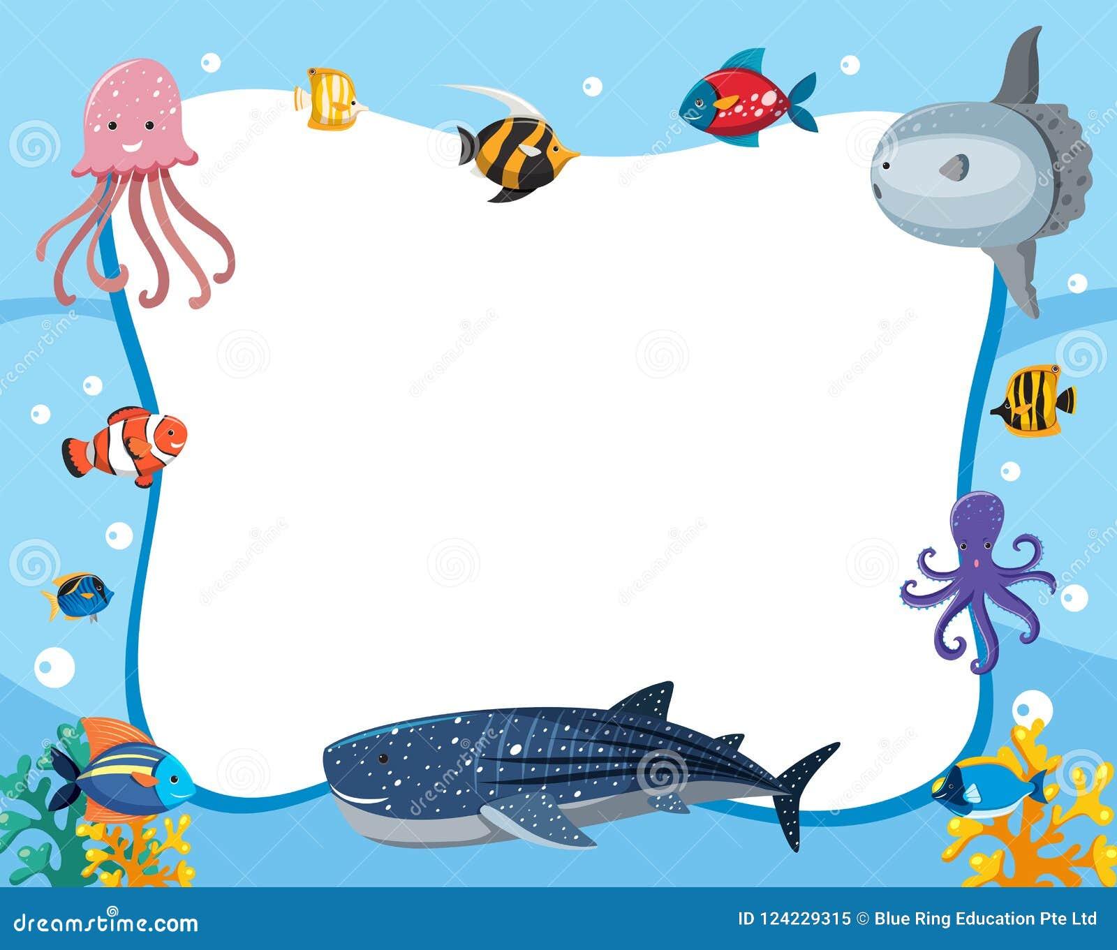 An Underwater Animals Border Stock Vector - Illustration ...