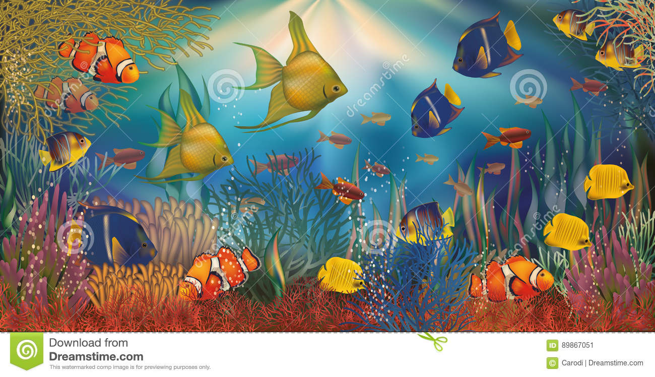Underwater Background With Tropical Fish, Vector Stock Vector