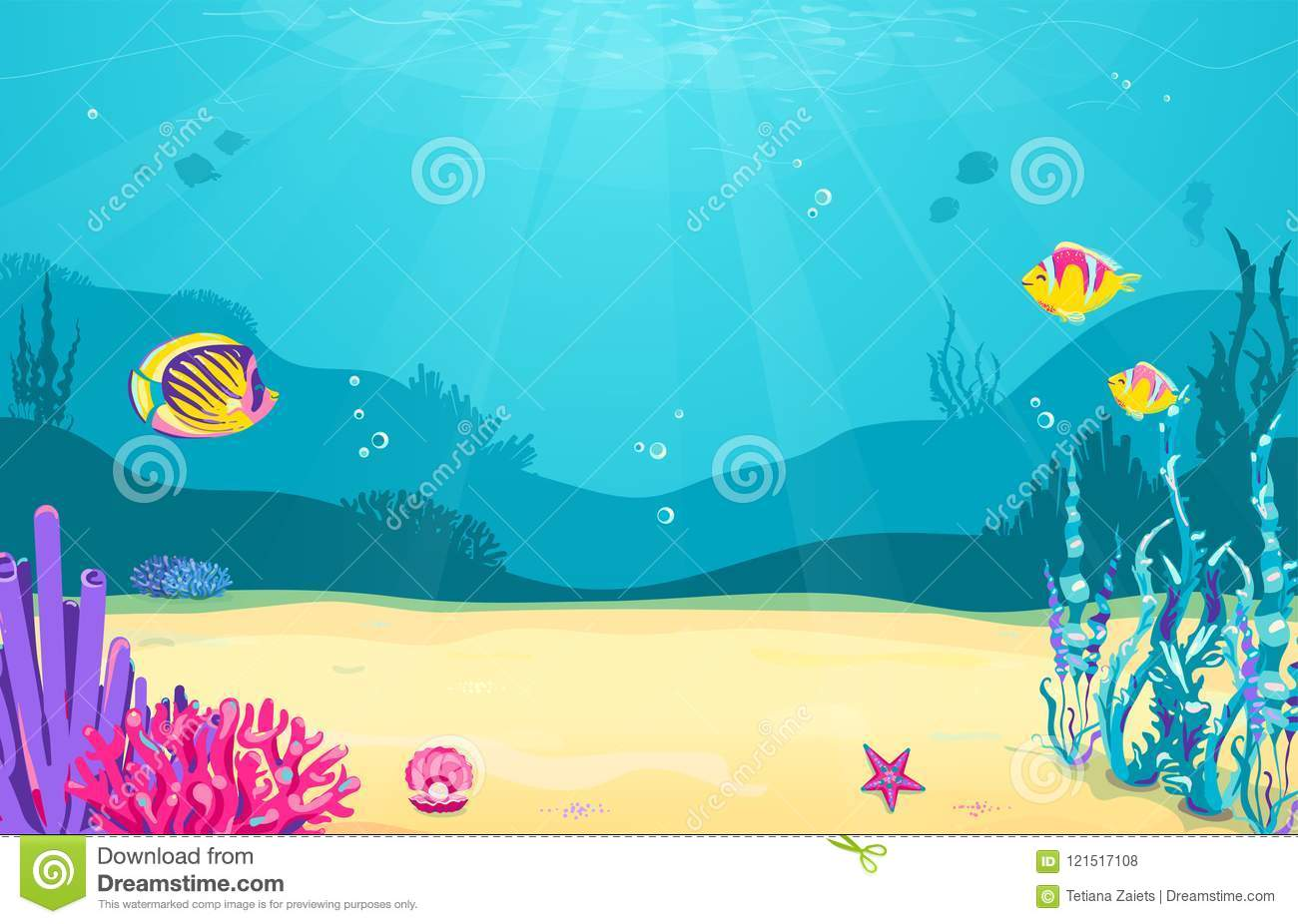Underwater Cartoon Background With Fish Sand Seaweed Pearl