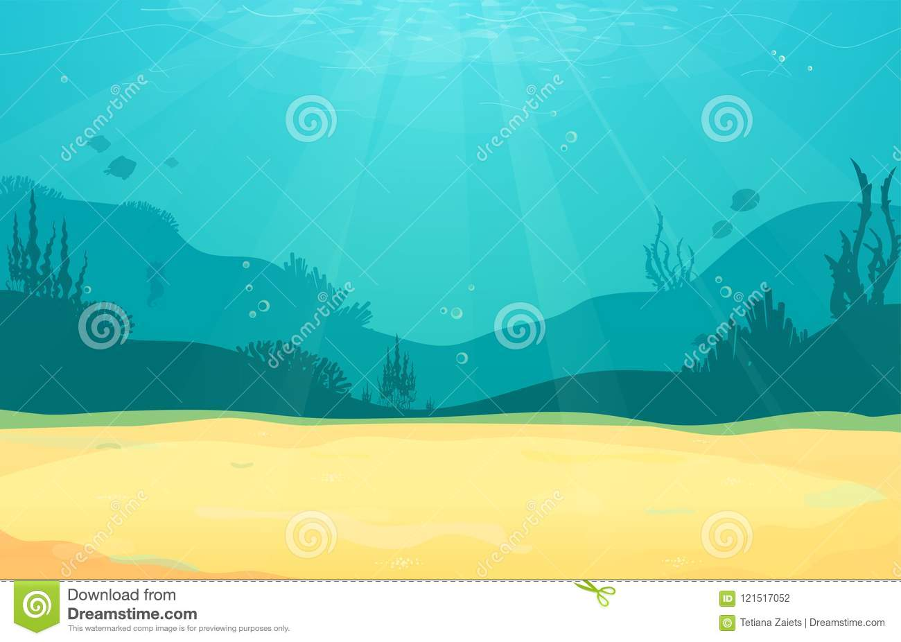 underwater cartoon flat background with fish silhouette