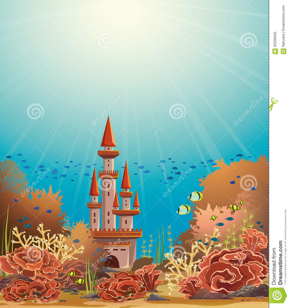 Underwater Castle And Coral Reef. Stock Illustration ...