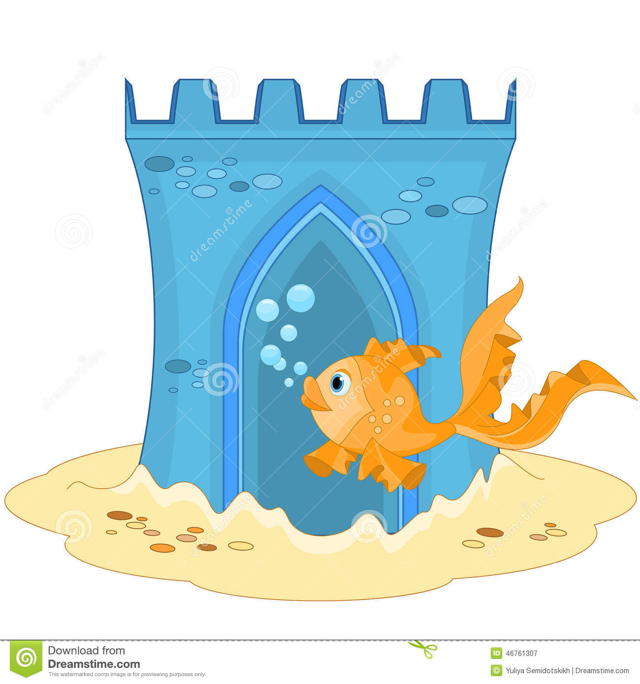 Underwater Castle And Gold Fish Stock Vector - Image: 46761307